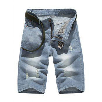 Classic Light-Wash Frayed Denim Shorts For Men