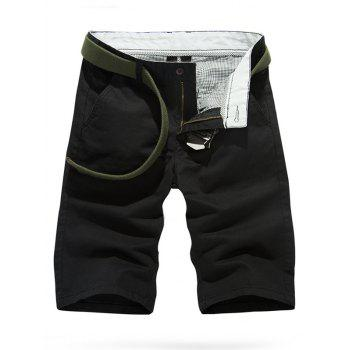 Buy Casual Solid Color Slim Fit Shorts Men BLACK