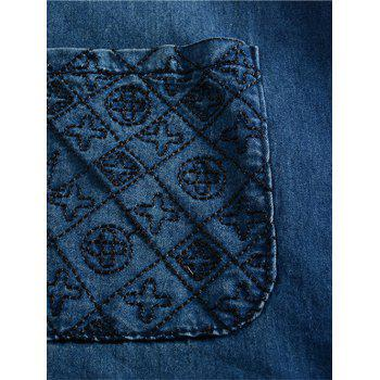 Plus Size Casual Distressed Embroidery Pockets Dress - BLUE L