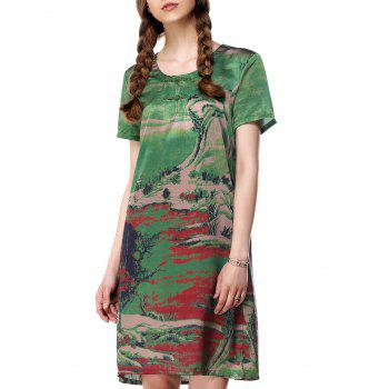 Painting Scoop Neck Loose-Fitting T Shirt Dress