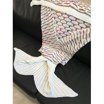 Fashionable Scrambled Pattern Warmth Knitted Mermaid Tail Design Blanket - WHITE