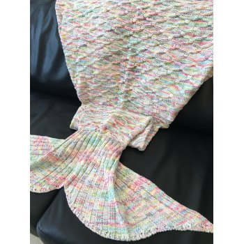 Comfortable Rhombus Pattern Warmth Knitted Mermaid Tail Design Blanket - COLORMIX