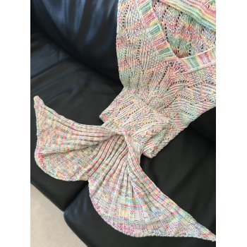 Chic Quality Wavy Stripe Pattern Knitted Mermaid Tail Design Blanket - COLORMIX