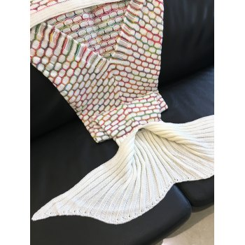 Comfortable Ellipse Pattern Knitted Mermaid Tail Design Blanket - COLORMIX