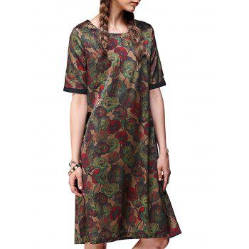 Floral Print Pocket Button Dress