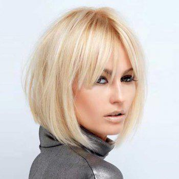 Fashion Short Straight Side Bang Human Hair Wig For Women