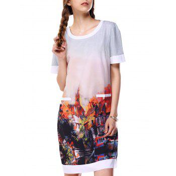 City Print Ombre Loose OL Dress