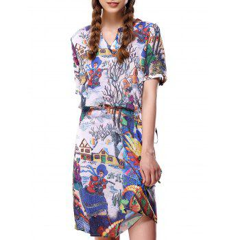 Print Colorful Pocket Loose-Fitting Dress