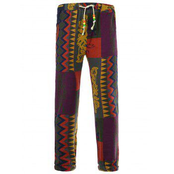 Color Block Spliced Totem Print Lace-Up Beam Feet Cotton+Linen Men's Pants