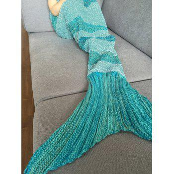 Stylish Stripe Knitted Mermaid Tail Design Blanket For Kids - WHITE AND GREEN WHITE/GREEN