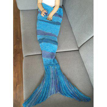 Stylish Stripe Knitted Mermaid Tail Design Blanket For Kids -  BLUE / PURPLE
