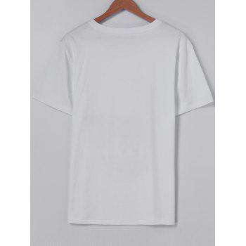 Fashionable Round Collar CrossBones Printing Short Sleeves With T-Shirt For Men - WHITE S