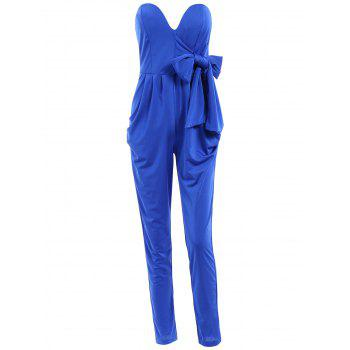 Stylish Strapless Sleeveless Lace-Up Solid Color Women's Jumpsuit