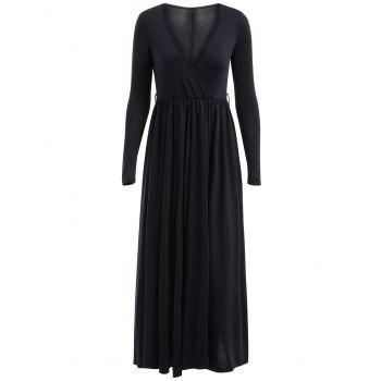 Sexy Plunging Neck Long Sleeve Solid Color High Slit Women's Dress