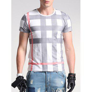 Plaid Print Round Neck Short Sleeve Men's T-Shirt