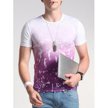 Buy Print Ombre Round Neck Short Sleeve Men's T-Shirt WHITE