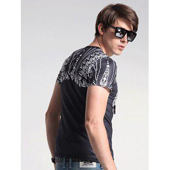 Animal Print Round Neck Short Sleeve Men's T-Shirt - BLACK 3XL