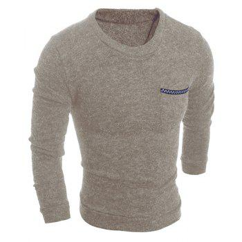 Solid Color Round Neck Edging Pocket Long Sleeve Men's Sweater
