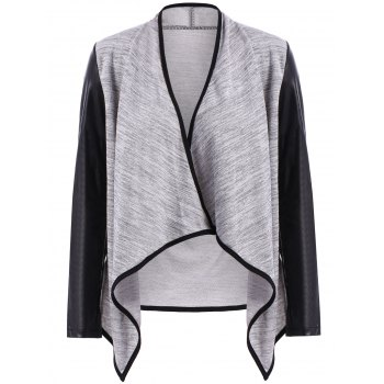 Stand Collar Long Sleeve PU Leather Spliced High Low Hem Jacket