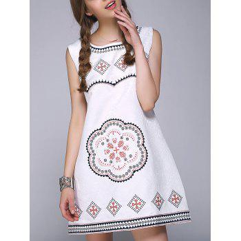 Sweet Floral Geometric Embroidered Sleeveless A Line Dress