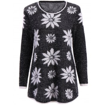 Trendy Long Sleeve Round Collar Flower Pattern Women's Sweater