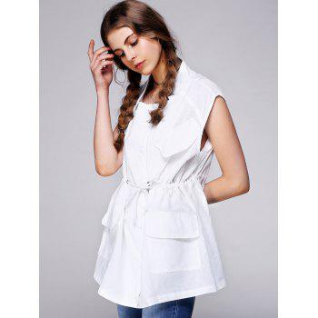 Brief Drawstring Letter Back Pocket Loose Waistcoat - WHITE ONE SIZE