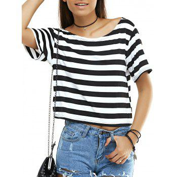 Open Back Striped T-Shirt