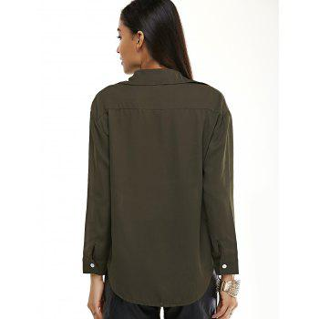 Long Sleeve Pure Color Shirt - ARMY GREEN L