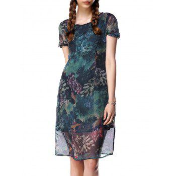 Gauzy Short Sleeve Floral Pattern Dress For Women