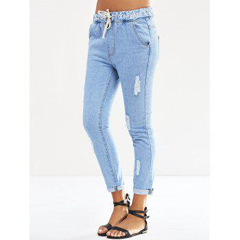 Elastic Waist Letter Print Ripped Jeans