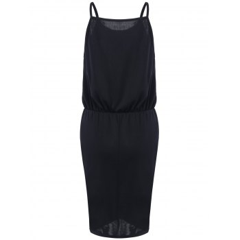 Alluring Pure Color Waisted Slit Dress - BLACK M