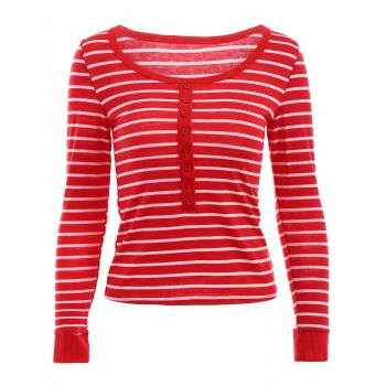 Stylish Scoop Neck Long Sleeves Slimming Striped Women's T-Shirt