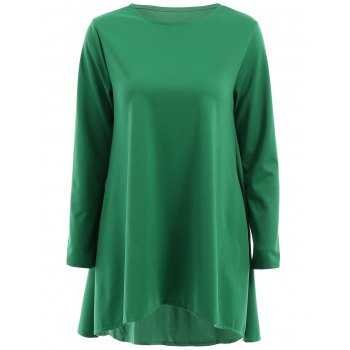 Stylish Long Sleeve Round Neck Solid Color Women's High Low Dress