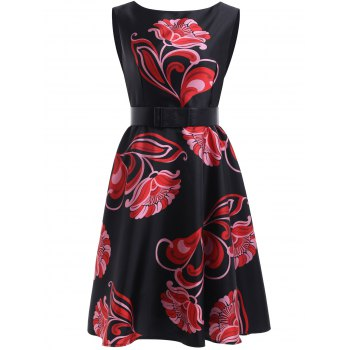 Sweet Women's Floral Print Sleeveless Flare Dress