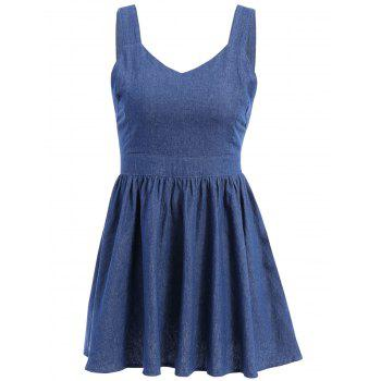 Cute Women's Bowknot Embellished Denim Suspender Dress