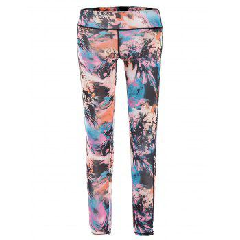 Stylish Elastic Waist Printed Slimming Ninth Women's Gym Pants