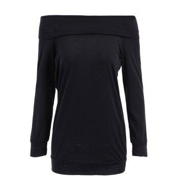 Sexy Solid Color Off The Shoulder Long Sleeve Sweatshirt For Women