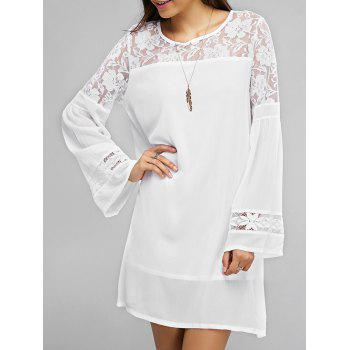 Lace Splicing Bell Sleeve Loose Dress