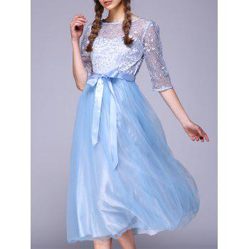 See Through Lace Insert Embroidery Bridesmaid Dress