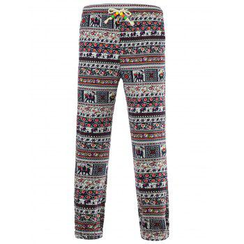 Tiny Floral and Elephant Print Spliced Lace-Up Beam Feet Cotton+Linen Men's Pants