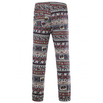 Tiny Floral and Elephant Print Spliced Lace-Up Beam Feet Cotton+Linen Men's Pants - COLORMIX 4XL