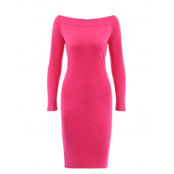Candy Color Long Sleeve Slash Neck Dress For Women