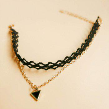 Chic Triangle Hollow Out Anklet For Women -  BLACK