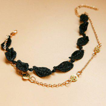 Smile Leaf Anklet - BLACK