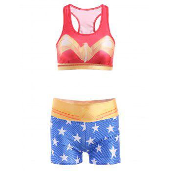 Cute U Neck Star Printed Tank Top and Shorts Women's Suit