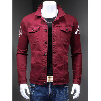 Turn-Down Collar Letter Print Long Sleeve Men's Denim Jacket