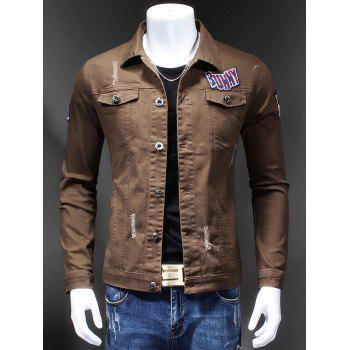 Turn-Down Collar Appliques Holes Design Embroidery Long Sleeve Men's Denim Jacket