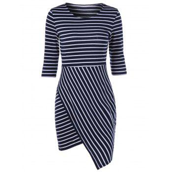 Color Block Striped Bodycon Irregular Dress
