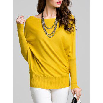 Round Neck Bat Sleeve Solid Color Sweater - YELLOW M