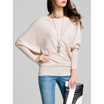 Round Neck Bat Sleeve Solid Color Sweater